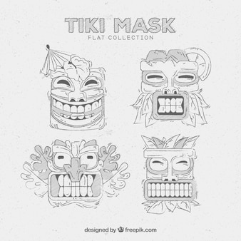 Tiki masks with pencil drawing style