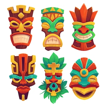 Tiki masks with scary faces and toothy mouth, decorated with leaves isolated