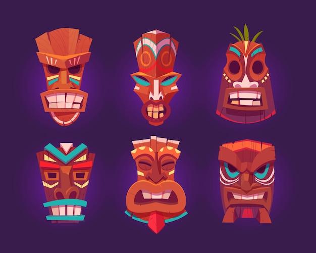 Tiki masks, wooden hawaiian tribal totem with god face