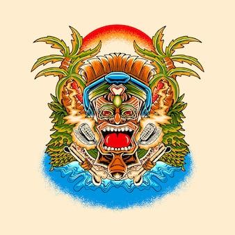 Tiki music summer illustration