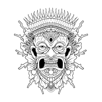 Tiki traditional hawaiian tribal mask with human face and burning fire wooden totem symbol