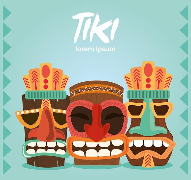 ポリネシアとハワイのカードイラストから設定されたティキ伝統的な彫像の装飾