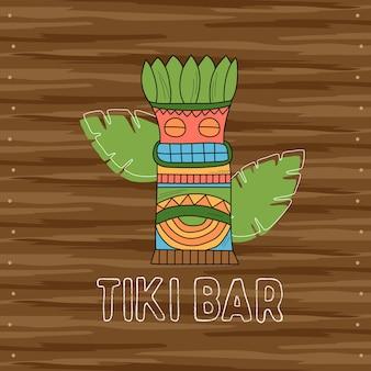 Tiki tribal wooden mask, signboard of bar. hawaiian traditional elements
