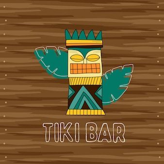 티키 부족의 나무 마스크, 바의 간판. 하와이 전통 요소