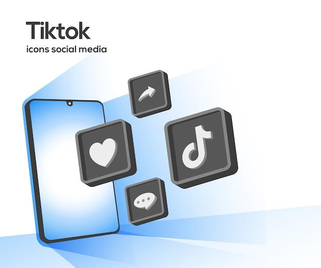 スマートフォンのシンボルとtiktok3dソーシャルメディアアイコン