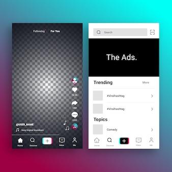Collezione di interfacce per app tiktok