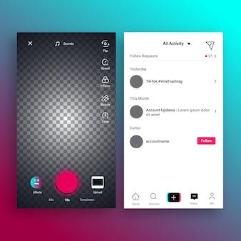 Set di interfacce per app tiktok