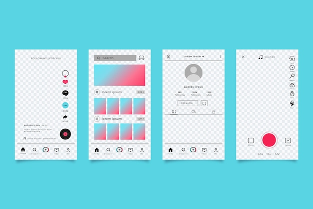 Tiktok app interface template pack
