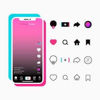 Tiktok app interface with buttons collection