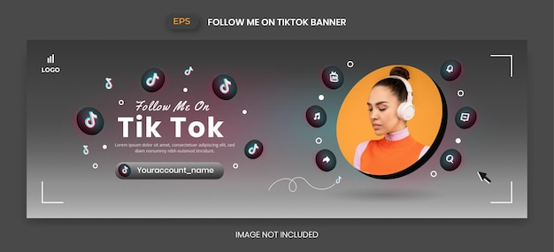 Баннер tiktok с 3d векторным значком для продвижения бизнес-страницы и публикации в социальных сетях