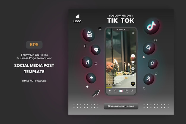 Tiktok business page promotion and social media post template