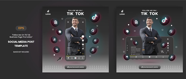 Tiktok business page promotion with 3d vector for social media post