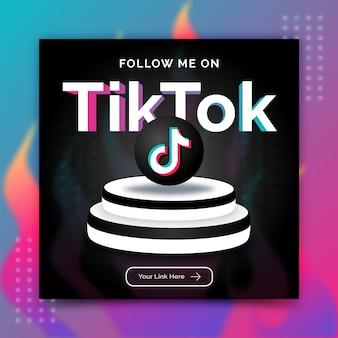 Tiktok follow me social media banner post template advertisement in 3d style