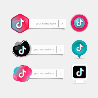 Download This Free Vector Follow Me On Tiktok Background In Memphis Design Style