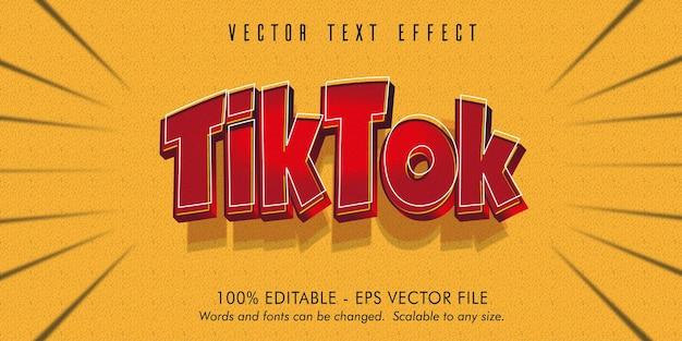 Tiktok 텍스트, tiktok 만화 스타일 편집 가능한 텍스트 효과