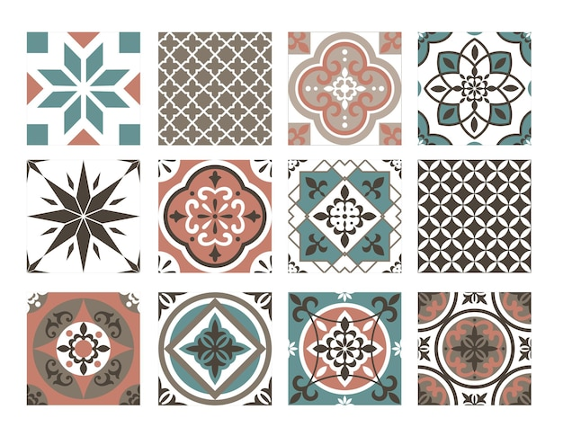 Tile colorful pattern set. abstract oriental blue brown geometric decorative ornament collection, ceramic typical  retro ornate decoration