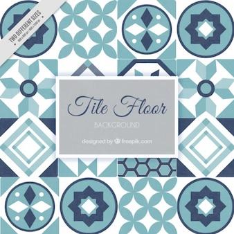 Tile floor in blue tones