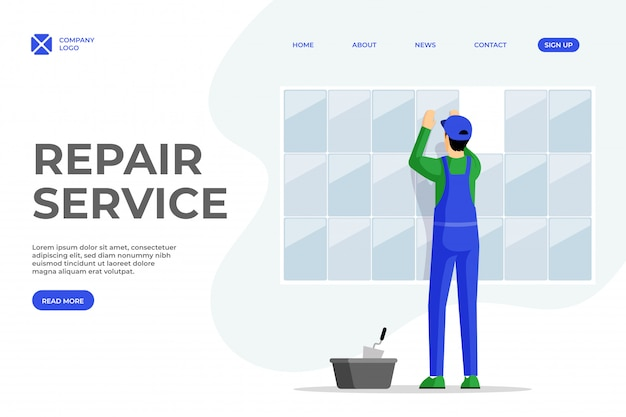 Tile layer services flat landing page template. repairman fixing tiles to wall cartoon character. professional workman, handyman, construction work specialist homepage design with text space