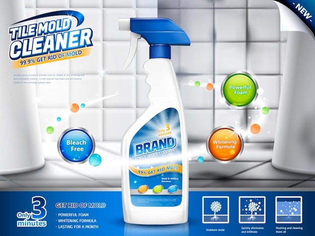 Tile mold cleaner ads, spray bottle with several efficacies in 3d illustration, before and after comparison, bathroom scene Premium Vector