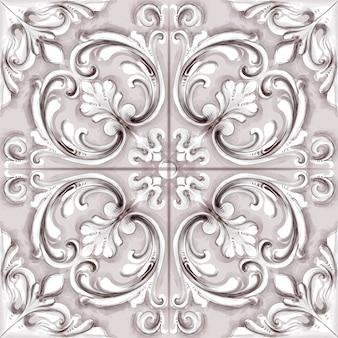 Tile or mosaic ornament watercolor