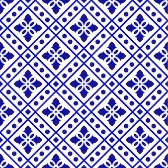 타일 패턴 파란색과 흰색