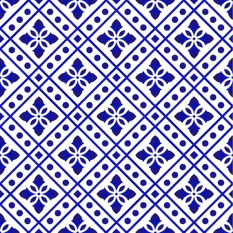 Tile pattern blue and white