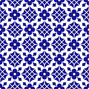 Tile pattern, ceramic blue and white flower seamless background, beautiful porcelain wallp