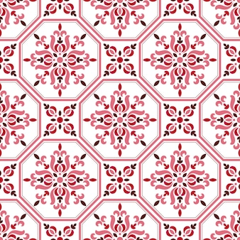 Tile pattern, colorful decorative floral seamless background