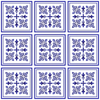 Tile pattern, porcelain decorative design, blue and white floral decor, big ceramic element in center is frame, beautiful ceiling damask and baroque style