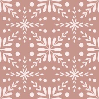 Плитка португалия цветок бесшовные модели. пыльный розовый цвет геометрического фона. традиционный повторяющийся орнамент азулежу. вектор монохромный узор. абстрактный старинный принт для ткани, упаковки. бумага для альбомов