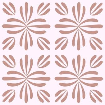ポルトガルの花のシームレスなパターンをタイルします。パステルピンクの幾何学的な背景。伝統的なアズレージョの繰り返し飾り。ベクトルモノクロパターン。生地、パッケージングの抽象的なヴィンテージプリント。スクラップブック紙