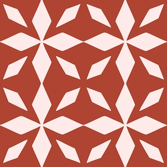 ポルトガルの花のシームレスなパターンをタイルします。赤い色の幾何学的な背景。伝統的なアズレージョの繰り返し飾り。ベクトルモノクロパターン。生地、パッケージングの抽象的なヴィンテージプリント。スクラップブックペーパーアート