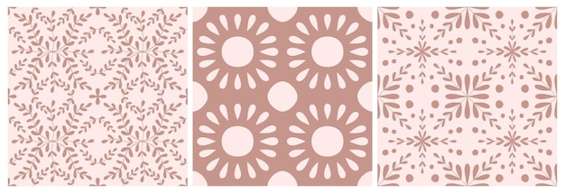 타일 포르투갈 꽃 원활한 패턴 집합입니다. 먼지가 장미 색 기하학적 배경입니다. 전통적인 azulejo 반복 장식입니다. 벡터 단색 패턴입니다. 직물, 포장, 래퍼에 대 한 추상 빈티지 인쇄