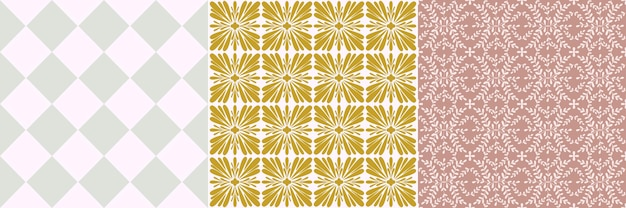Tile portugal flower seamless pattern set. geometric background. traditional azulejo repeat ornament. vector monochrome pattern collection. abstract vintage print for fabric,packaging.scrapbook paper
