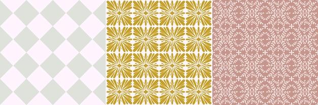 ポルトガルの花のシームレスなパターンセットをタイルします。幾何学的な背景。伝統的なアズレージョの繰り返し飾り。ベクトルモノクロパターンコレクション。ファブリック、パッケージングのための抽象的なビンテージプリント。スクラップブック紙