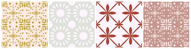 타일 포르투갈 꽃 원활한 패턴 집합입니다. 기하학적 배경입니다. 전통적인 azulejo 반복 장식입니다. 벡터 흑백 패턴 컬렉션입니다. 직물, 포장에 대한 추상 빈티지 인쇄. 스크랩북 종이