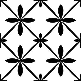 ポルトガルのシームレスなパターンを並べて表示します。黒と白の幾何学的な背景。伝統的なアズレージョの繰り返し飾り。ベクトルモノクロパターン。生地、パッケージングの抽象的なヴィンテージプリント。 Premiumベクター