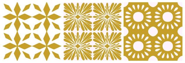 ポルトガルのシームレスなパターンを並べて表示します。ゴールド色の花の幾何学的な背景。伝統的なアズレージョの繰り返し飾り。ベクトルモノクロパターン。布、包装、床の抽象的なビンテージプリント。スクラップブック紙