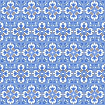 Tile print or ceramic texture seamless mosaic blue pattern.