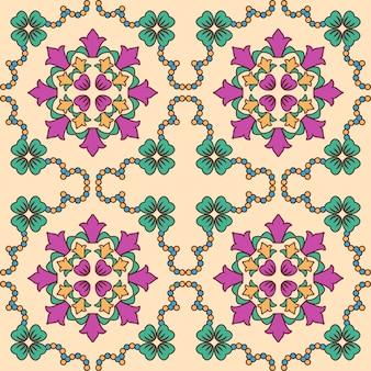 Tile seamless pattern design. with colourful motifs background.