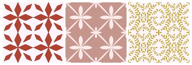 タイルシームレスパターンセット。ベクトルの幾何学的な背景。伝統的なモロッコ、ポルトガルのプリントデザイン。セラミック、床、壁紙のグラフィックパターン。パステルカラーの抽象的な正方形の飾り。