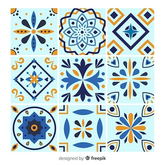 Tile set in blue tones