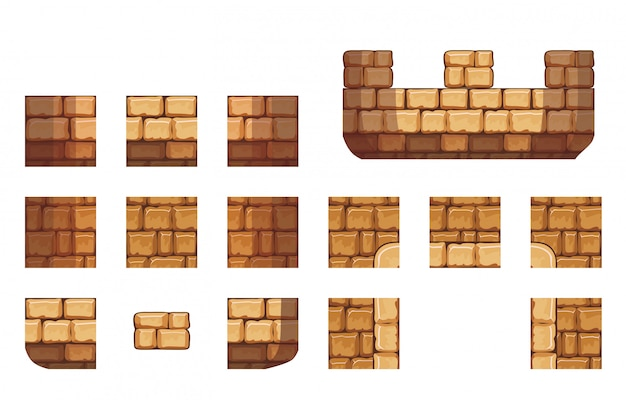 Tile set pattern of rock for creating 2d game wall and background