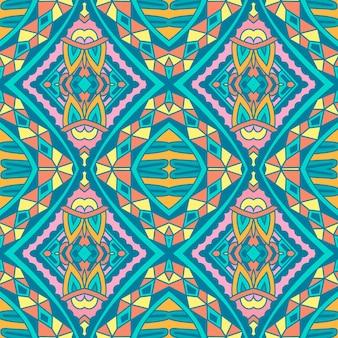 Плиточный этнический красочный узор для ткани. абстрактные геометрические мозаики ромб бесшовные орнамент.