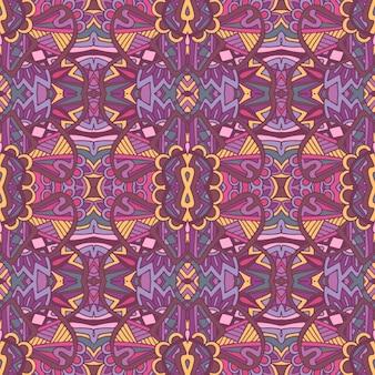 生地のタイル張りのエスニック花柄。装飾的な抽象的な幾何学的なモザイクヴィンテージシームレスパターン。