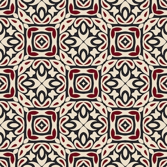 Плиточный этнический узор. абстрактная геометрическая мозаика винтаж бесшовный фон