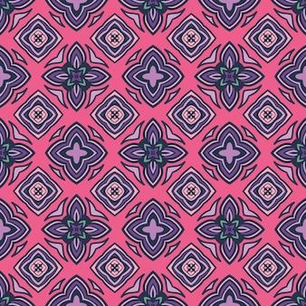 직물에 대한 기와 민족 패턴. 추상적 인 기하학적 모자이크 빈티지 원활한 패턴 장식 핑크 타일