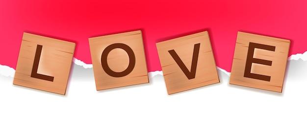 タイルアルファベットワードゲーム、英語で愛を綴る木製のブロック文字。紙の背景に立方体の正方形のロマンチックな刻まれたパズルイラスト。バレンタインデーc