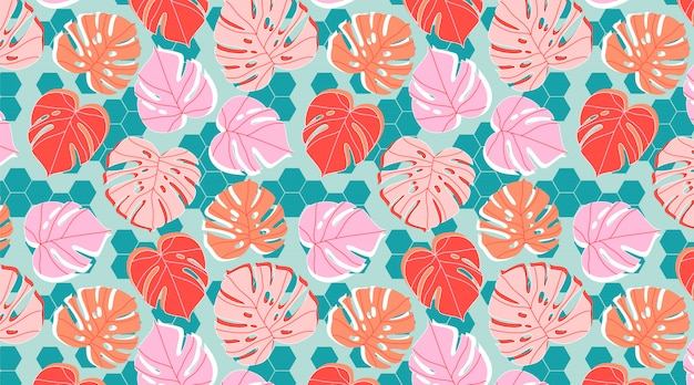 Tiles and plants seamless pattern. tropical monstera leaves and palm branches in pastel tones. summer and rainforest mood. trendy hand drawn illustration for background, banner, textile.
