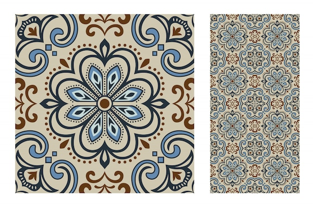 Tiles portuguese patterns antique seamless design